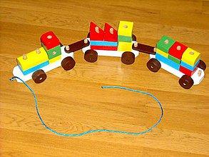 Hračky - Drevený ťahací vláčik - 10058452_