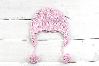 Detské čiapky - Ružová ušianka zimná EXCLUSIVE FINE - 10058991_