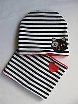 Detské čiapky - Zímný pásikavý set s mačkou - 10059536_