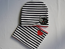 Detské čiapky - Zímný pásikavý set s mačkou - 10059538_