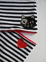 Detské čiapky - Zímný pásikavý set s mačkou - 10059539_