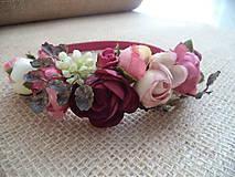 Ozdoby do vlasov - romantická kvetinová čelenka - 10060124_