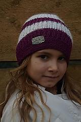 Čiapky - Detská vlnená čiapka-ružovo-biela - 10059367_