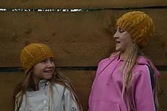 Čiapky - Detská vlnená čiapka-žltá (Vzor čísla S) - 10059643_