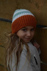 Čiapky - Detská čiapka-zelená, oranžová, biela - 10059799_