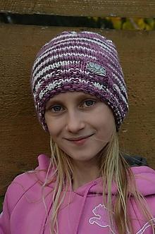 Čiapky - Vlnená čiapka v ružovej kombinácii - 10059330_