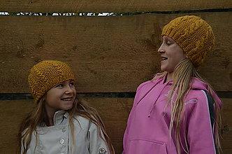 Čiapky - Detská vlnená čiapka-žltá - 10059643_