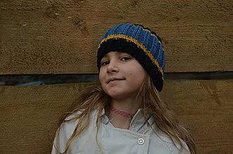 Čiapky - Detská vlnená čiapka-modrá, čierna, žltá - 10059814_
