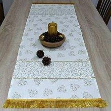Úžitkový textil - Zlaté srdiečka a ornamenty na smotanovej(2) - vianočný obdĺžnik 115x40 - 10058100_
