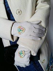 "Rukavice - Mliečne biele rukavice s výšivkou ""Ruže"" - 10061362_"