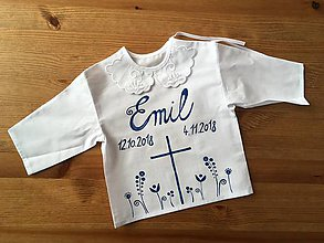 Detské oblečenie - Krstná maľovaná ľudovoladená košieľka - 10058253_
