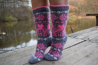 Obuv - šedé ponožky s nórskym vzorom (v.39-41) - 10060617_