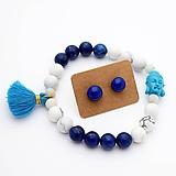 Sady šperkov - Náramok & sklenené napichovačky (lapis lazuli + howlit) - 10060636_