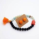 Sady šperkov - Náramok & sklenené napichovačky (amazonit+láva) - 10060649_