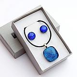 Sady šperkov - Tmavomodrá sada sklenených šperkov - 10061022_