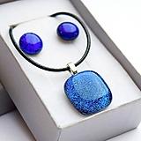 Sady šperkov - Tmavomodrá sada sklenených šperkov - 10061023_