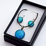 Sady šperkov - Tyrkysová sada sklenených šperkov I.  - 10061063_