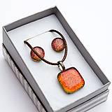 Sady šperkov - Oranžovo-červená sada sklenených šperkov - 10061132_