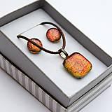Sady šperkov - Oranžovo-červená sada sklenených šperkov - 10061133_