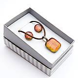 Sady šperkov - Oranžovo-červená sada sklenených šperkov - 10061135_