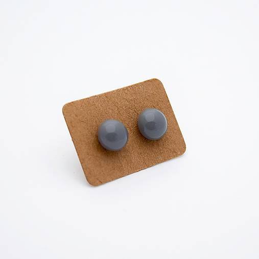 MINI sklenené náušničky - Sivé