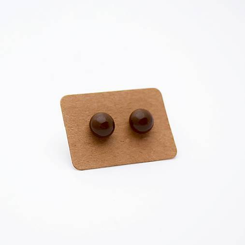 MINi sklenené náušničky - Čokoládové