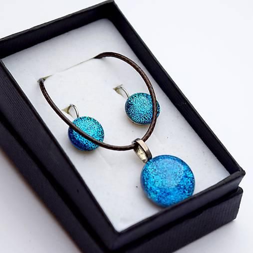Tyrkysová sada sklenených šperkov I.