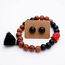Sady šperkov - Náramok & sklenené napichovačky (slnečný kameň + ónyx) - 10060654_