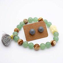 Sady šperkov - Náramok & sklenené napichovačky (aventurín + jaspis) - 10060661_