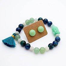 Sady šperkov - Náramok & sklenené napichovačky (aventurín+chryzokol+amazonit) - 10060675_