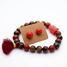 Sady šperkov - Náramok & sklenené napichovačky (tigrie oko + červený jaspis) - 10060753_