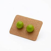 Náušnice - MINI sklenené náušničky - Hrášková zelená - 10060791_