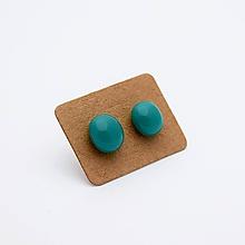 Náušnice - MINI sklenené náušničky - Teal / Tyrkysové - 10060826_