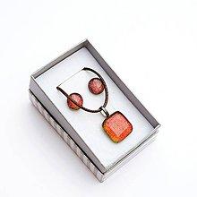 Sady šperkov - Oranžovo-červená sada sklenených šperkov - 10061130_