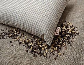 Úžitkový textil - FILKI šupkový vankúš na spanie 55 cm (bielo-béžové káro 25 cm) - 10058139_