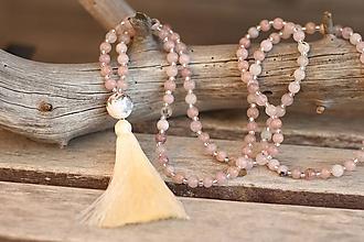Náhrdelníky - Mala náhrdelník z minerálu jaspis - čerešňový kvet - 10060578_