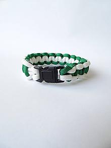 Náramky - Paracord náramok Cobra zeleno-biely - 10060060_