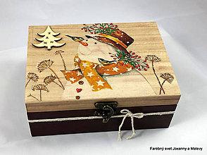 Krabičky - krabička Snehuliačik so stromčekom - 10060572_