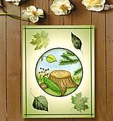 Kresby - Jesenný obrázok a listy - peň v kruhu - 10061233_