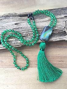 Náhrdelníky - Mala náhrdelník zelený jadeit - 10065302_