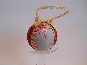 Dekorácie - Vianočná guľa - Sakura bordová - 10064384_