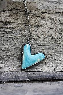 Náhrdelníky - Cínovaný prívesok s keramickým kabošonom - Láska v modrom - 10065578_