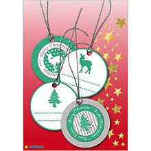 Papiernictvo - Dizajnové Vianočné etikety - zelené - 10064202_