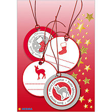 Papiernictvo - Dizajnové Vianočné etikety - červené - 10064213_