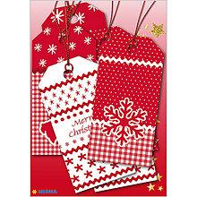 Papiernictvo - Dizajnové Vianočné etikety - vločky - 10064234_