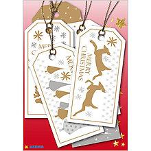 Papiernictvo - Dizajnové Vianočné etikety - Merry - 10064239_