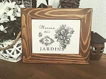 """Starý rám s obrázkom """" Jardins """""""