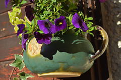 Nádoby - Kameninový kvetináč zelený, medienkový, čajník, závesný :o)). - 10062767_