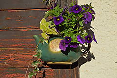 Nádoby - Kameninový kvetináč zelený, medienkový, čajník, závesný :o)). - 10062788_