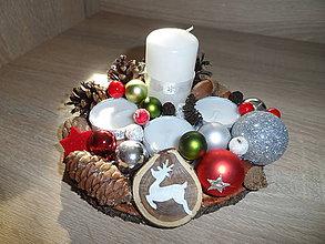 Dekorácie - adventný svietnik s jelenčekom - 10064952_